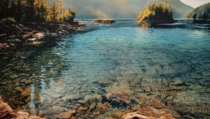 """Lagoon Cove,"" by Carol Evans 18 ¾ x 32 - Giclée on paper (edition size of 295) - $495 Unframed 25 x 44 - Giclée on canvas (edition size of 100) - $1150 Unframed"
