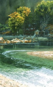 """Lagoon at Mansons Landing,"" by Carol Evans 19 1/2 x 20 - Giclée on paper (edition size of 295) - $345 Unframed 19 1/2 x 32 - Giclée on canvas (edition size of 100) - $675 Unframed"