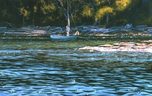 """Little Boat at Anchor,"" by Carol Evans 8 3/4 x 10 1/2 - Giclée on paper (edition size of 295) - $110 Unframed"