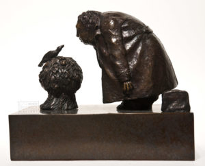 "SOLD OUT ""Mockingbird in an Orange Bush,"" by Michael Hermesh 8 1/2"" x 10 1/2"" x 6 1/2"" - bronze No. 9 of edition of 12 $4000"