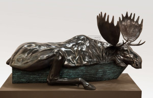 "SOLD OUT ""Canadian Moose,"" by Nicola Prinsen 48"" (L) x 25"" (H) x 29"" (W) - bronze No. 3 of edition of 3 $21,500"