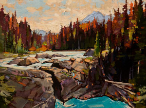 "SOLD ""Mountain and River"" by Min Ma 6 x 8 - acrylic $590 Unframed $740 in show frame"