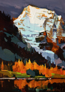"SOLD ""Mount Robson Autumn"" by Michael O'Toole 5 x 7 - acrylic $500 Unframed $675 in show frame"