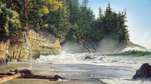 """Mystic Beach,"" by Carol Evans 22 1/2 x 44 - Giclée on canvas (edition size of 195) - $1150 Unframed 30 1/2 x 60 - Giclée on canvas - $1550 Unframed PAPER EDITION SOLD OUT"