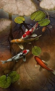 """Mystic Koi"" 24 x 40 - Giclée print on canvas Artist's Proof - $1,420 CAD Unframed USD $1095 Unframed"