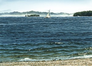 """Sailboats off Beddis Beach,"" by Carol Evans 20 x 28 - lithograph on paper (edition size of 350) - $295 Unframed 20 x 28 - Giclée on canvas (edition size of 50) - $675 Unframed"