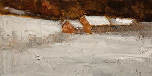 "SOLD ""Sous la Neige"" (Snowed In) by Robert P. Roy 8 x 16 - oil $495 Unframed $780 in show frame"