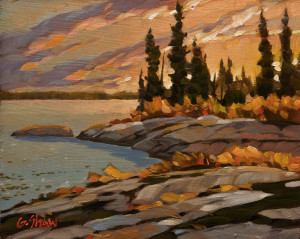 "SOLD ""South Shore, Marion Lake, N.W.T."" by Graeme Shaw 8 x 10 - oil $500 Unframed $700 in show frame"