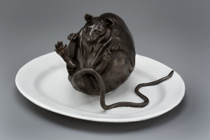 """Spagetti Tail,"" by Nicola Prinsen Bronze - 5"" height x 11"" width incl. plate Edition of 20 $3000"