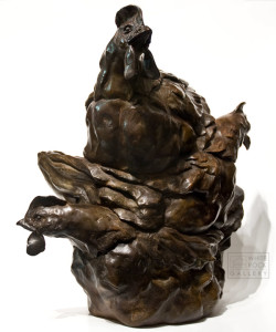 """Stacked Chicks,"" by Nicola Prinsen 17"" (H) x 16"" (L) - bronze Artist's Proof - $5600"