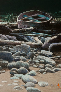 "SOLD ""Stone Steps"" by Alan Wylie 6 x 9 - oil $1000 Unframed $1165 in show frame"