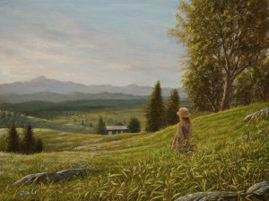 "SOLD ""Summer Day in the Meadow"" by Don Li 9 x 12 - oil $980 Unframed $1190 in show frame"