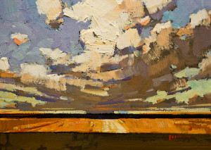 "SOLD ""Summer Storm"" by Min Ma 5 x 7 - acrylic $520 Unframed $660 in show frame"