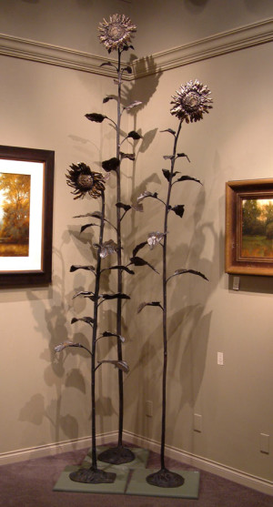 "SOLD ""September Sunflower No. 3,"" by Nicola Prinsen Bronze - 8' 5"" height Edition of 1 $9400"