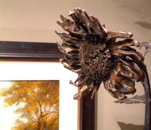 "SOLD ""September Sunflower No. 12"" by Nicola Prinsen Bronze - 6' 9"" height Edition of 1 $8900"