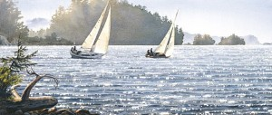 """Sunlit Sails,"" by Carol Evans 11 7/8 x 27 7/8 - lithograph on paper (edition size of 350) - $280 Unframed"