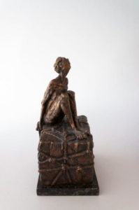 """The Tourist,"" by Michael Hermesh 10 1/2"" x 6 1/2"" x 6"" - bronze $3000"