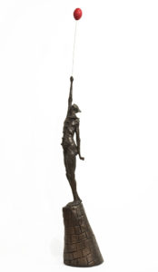 """The Undeniable Bravery of Your Average Balloonist,"" by Michael Hermesh 35"" (H) plus balloon x 8"" (L) x 8"" (W) - bronze Edition of 9 $8000"