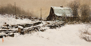 "SOLD ""Winter Is Upon Us"" by Alan Wylie 6 x 12 - oil $1250 Unframed $1450 in show frame"