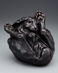 """No Really, I'm Okay (Yoga Bunny)"", by Nicola Prinsen 8 1/2"" x 8 1/2"" - bronze sculpture $3500 Edition of 12"