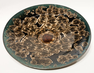 "SOLD Wall-hang bowl (BB-3921) by Bill Boyd crystalline-glaze ceramic – 19 1/2"" (W) $950"