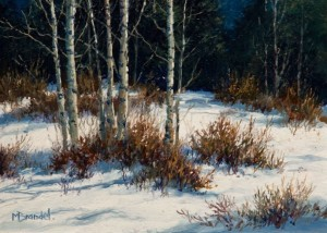 "SOLD ""Aspen Grove,"" by Merv Brandel 5 x 7 - oil $600 Unframed $760 in show frame"