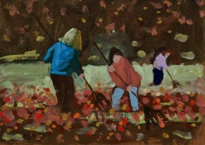 "SOLD ""Autumn Afternoon"" by Paul Healey 5 x 7 - acrylic $250 Unframed $425 in show frame"