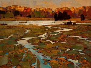 "SOLD ""Autumn Estuary"" by Min Ma 6 x 8 - acrylic $510 Unframed $645 in show frame"