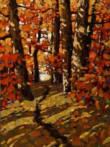 "SOLD ""Autumn Stroll"" by Min Ma 6 x 8 - acrylic $510 Unframed $645 in show frame"