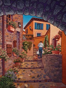 "SOLD ""Back From the Market, Tuscany, Italy"" by Michael Stockdale 12 x 16 - acrylic $650 Unframed $775 in show frame"