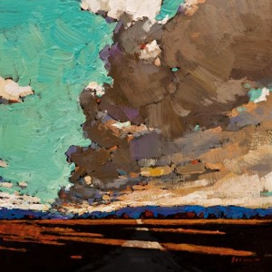 "SOLD ""Barrelling Clouds"" by Min Ma 6 x 6 - acrylic $465 Unframed $590 in show frame"