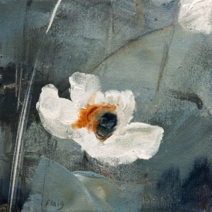 "SOLD ""Butterfly Flower"" by Susan Flaig 8 x 8 - acrylic/graphite $350 Unframed $550 in show frame"