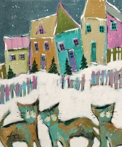 "SOLD ""The Cats Come Back ...,"" by Claudette Castonguay 10 x 12 - acrylic $360 Unframed $460 in show frame"