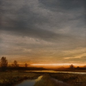 "SOLD ""Dawn Over the North Arm"" by Renato Muccillo 5 x 5 - oil on mylar $1150 in show frame"