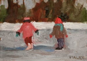"SOLD ""December 24th"" by Paul Healey 5 x 7 - oil $250 Unframed $425 in show frame"