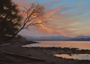 "SOLD ""Deep Cove Dusk"" by Ray Ward 5 x 7 - oil $450 Unframed $610 in show frame"