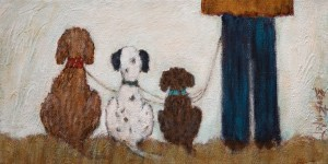 "SOLD ""The Dog Walker,"" by Bev Binfet 6 x 12 - acrylic $360 Unframed $450 in show frame"
