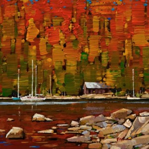 "SOLD ""Fall on the Coast"" by Min Ma 6 x 6 - acrylic $465 Unframed $590 in show frame"