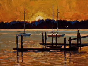 "SOLD ""Golden Glow"" by Min Ma 6 x 8 - acrylic $510 Unframed $645 in show frame"