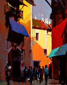 "SOLD ""Golden Light Through the Streets of Venice"" by Michael O'Toole 11 x 14 - acrylic $875 Unframed $1100 in show frame"