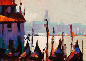"SOLD ""Gondolas at Rest"" by Michael O'Toole 5 x 7 - acrylic $500 Unframed $625 in show frame"