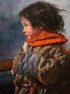 "SOLD ""Innocent Wonder"" by Donna Zhang 12 x 16 - oil $1620 Unframed $1950 in show frame"