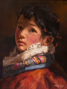 "SOLD ""Listening Carefully"" by Donna Zhang 12 x 16 - oil $1620 Unframed $1950 in show frame"