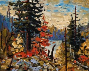 "SOLD ""Northern Autumn, Road Lake"" by Rod Charlesworth 8 x 10 - oil $700 Unframed $880 in show frame"