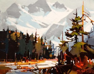"SOLD ""Patterns at Play Through the Columbia Icefields"" by Michael O'Toole 11 x 14 - acrylic $875 Unframed $1100 in show frame"