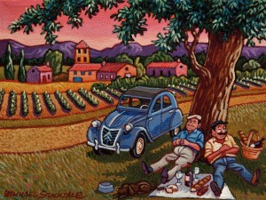 "SOLD ""Picnic in the Shade"" by Michael Stockdale 6 x 8 - acrylic $300 Unframed $385 in show frame"