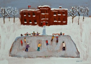 "SOLD ""The Rink"" by Paul Healey 5 x 7 - acrylic $250 Unframed $425 in show frame"