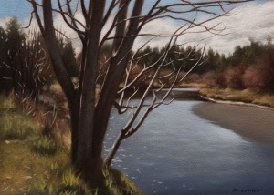 "SOLD ""Riverside"" by Ray Ward 5 x 7 - oil $450 Unframed $610 in show frame"