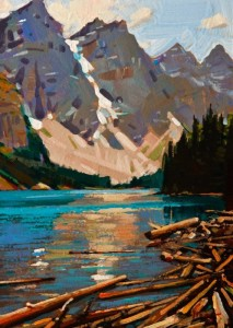 "SOLD ""Rocky Mountain Vista, Moraine Lake"" by Min Ma 5 x 7 - acrylic $450 Unframed $575 in show frame"