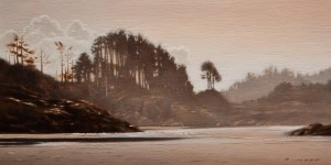 "SOLD ""Rosie Bay Mist"" by Ray Ward 6 x 12 - oil $660 Unframed $850 in show frame"